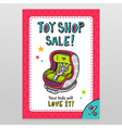 Toy shop sale flyer design with baby car seat vector image vector image
