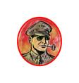 World War II General Corn Cob Pipe Watercolor vector image