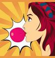 pop art woman with gum vector image