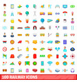 100 railway icons set cartoon style vector image vector image