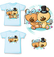 Bears in wedding dress sitting - shirt design vector image vector image