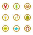 Beer snacks icons set cartoon style