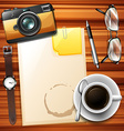 Blank paper and hot coffee vector image