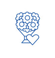bouquet of flowers line icon concept vector image vector image