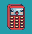 calculator math character handmade drawn vector image