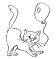 cat and balloon vector image vector image