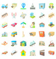 city place icons set cartoon style vector image vector image