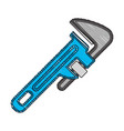 colored crayon silhouette of pipe wrench vector image vector image