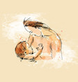 colored hand sketch nursing mother with baby vector image vector image