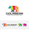 colorful bear logo design vector image vector image
