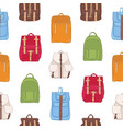 colorful seamless pattern with backpacks or vector image