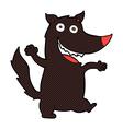 comic cartoon happy wolf vector image vector image