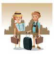 Couple tourist map luggage traveler urban
