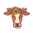 cow head with flower wreath color vector image vector image