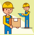 delivery men checking with a parcel and a vector image vector image