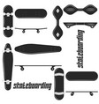 different skateboard set black and white icon vector image