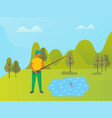 fisherman on vacation lifestyle person in park vector image vector image