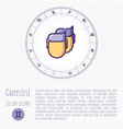 gemini in zodiac wheel horoscope chart vector image