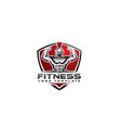 gladiator fitness logo with shield vector image vector image