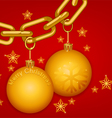 Glossy gold chain Merry Christmas vector image