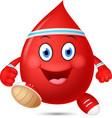 happy blood cartoon running vector image vector image