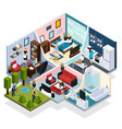 home staff isometric composition vector image vector image