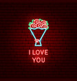 i love you flowers neon label vector image vector image