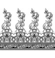 indian line art seamless border with flowers vector image vector image