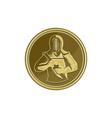 Kendo Swordsman Gold Medal Retro vector image vector image