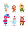 kids in christmas costumes funny children vector image