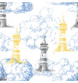 lighthouse and blue clouds marine seamless pattern vector image