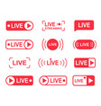 live stream buttons online live streaming player vector image
