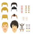 man face emotions constructor parts eyes nose vector image vector image