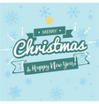 merry christmas happy new year ribbon snowflake bl vector image