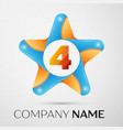 number four logo symbol in the colorful star on vector image vector image
