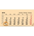 October 31 2016 Halloween Date of wall calendar vector image vector image