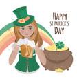 patrick day girl saint holiday irish illust vector image