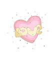 pink simple heart icon with yellow text love fun vector image vector image