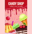poster with confectionery and sweets vector image vector image