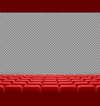 realistic rows of red empty cinema chairs vector image vector image