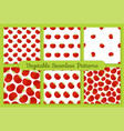 red tomato flat vegetable seamless pattern set vector image