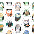 seamless pattern with cartoon owls nursery vector image vector image