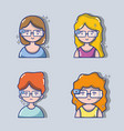 set children with 3d glasses technology vector image vector image