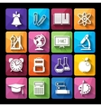 set icons educationflat style vector image