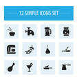 set of 12 editable food icons includes symbols vector image vector image