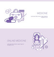 set of online medicine banners business concept vector image