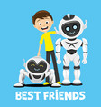 teenager and funny robots vector image