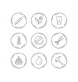tooth syringe and tablet icons flower drop vector image