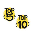 top 5 and 10 lettering set vector image