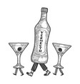 vermouth bottle glass walks on its feet sketch vector image vector image